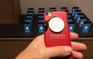 Bagside af Ipod med Healthcare Denmark logo